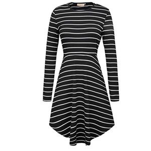 Long Sleeve Striped Elastic Waist Casual Dress